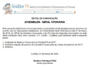 SindijorPR convoca Assembleia de prestação de contas