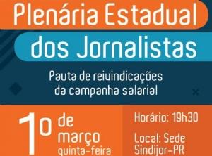 Plenária dos Jornalistas será realizada no dia 1.º de março